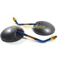 Spion Standar Scoopy Karbon Tangkai Biru Kuning Universal Honda