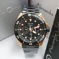 JAM TANGAN PRIA ALEXANDRE CHRISTIE AC 6515 BLACK ROSEGOLD ORIGINAL