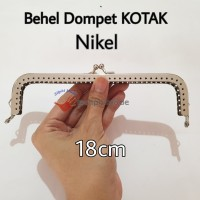 Behel Dompet Kotak 18cm Nikel Silver / Frame Tas / Kiss Clasp