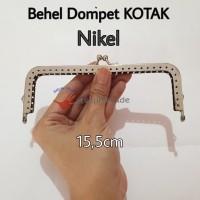 Behel Dompet Kotak 15,5cm Nikel Silver / Frame Tas / Kiss Clasp