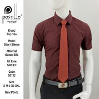 Kemeja Polos Formal Pria | Postillo | Lengan Pendek Coklat
