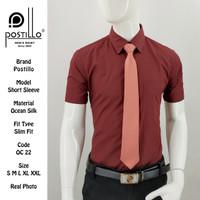 Kemeja Polos Formal Pria | Postillo | Lengan Pendek Merah Maroon