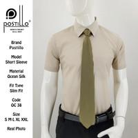 Kemeja Polos Formal Pria | Postillo | Lengan Pendek Krem