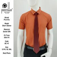 Kemeja Polos Formal Pria | Postillo | Lengan Pendek Coklat Muda