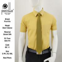 Kemeja Polos Formal Pria | Postillo | Lengan Pendek Kuning