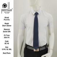 Kemeja Polos | Postillo | Lengan Pendek Putih | Katun Ocean Silk