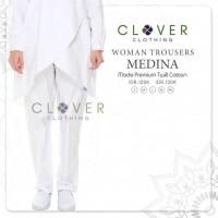 Celana Panjang Warna Putih Ori Clover Woman Trousers Medina Katun Twil