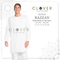 Baju Atasan Koko Pakistan Warna Putih Ori Clover Razzan Katun Twill