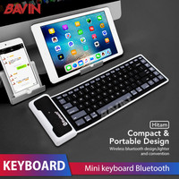 Wireless Bluetooth Keyboard Portable Flexible Keyboard Silicon USB 2.0 - Hitam