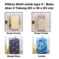 Cover Sarung Penutup Tutup Mesin Cuci Motif Karakter Dua 2 Tabung Twin