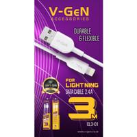 Kabel Data Lightning V-GeN CL3-01 Kabel iPhone 2.4A VGEN 3 Meter