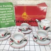 Cangkir Set dan Teko Keramik Kopin Motif Ayam