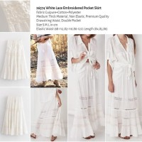 White Lace Embroidered Pocket Skirt (size S,M,L) -26574