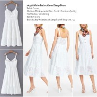 White Embroidered Strap Dress (size S,M) -26738