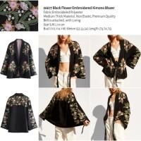 Black Flower Embroidered Kimono Blazer (size S,M,L) -26677