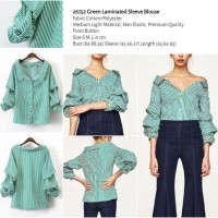 Green Laminated Sleeve Blouse (size S,M,L) -26752