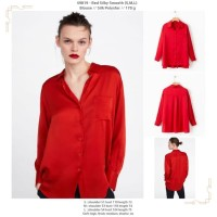 Red Silky Smooth (S,M,L) Blouse -49819