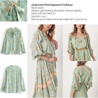 Green Floral Openwork Tie Blouse (size S,M,L) -26739