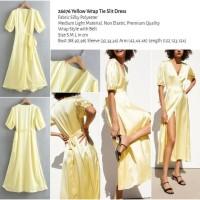 Yellow Wrap Tie Slit Dress (size S,M,L) -26676