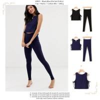 Black,Blue Rib Set (S,M,L) Top + Pants -49831