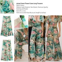 Green Flower Crane Long Trousers (size S,M,L) -26746