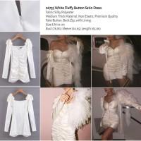 White Fluffy Button Satin Dress (size S,M) -26735