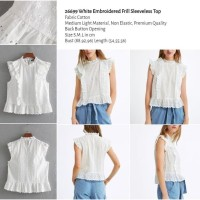 White Embroidered Frill Sleeveless Top (size S,M,L) -26699