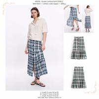 Green Lattice Grid (S,M,L) Mid Skirt -49938