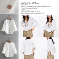 White Bow Cuff Blouse (size S,M,L) -26653