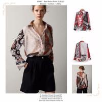 Red Retro Print (S,M,L) Blouse -49887