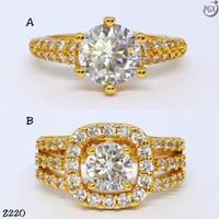Z220 Cincin Berlian Mewah Perhiasan Imitasi Xuping Lapis Emas Silver