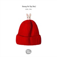 Hey Baby Bunny on Top Beanie (Red)