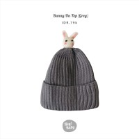 Hey Baby Bunny on Top Beanie (Grey)