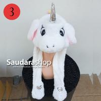 Topi Tiktok Bergerak + Led / Topi Tiktok Lampu / Topi Unicorn Putih