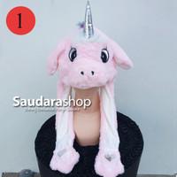 Topi Tiktok Bergerak + Led / Topi Tiktok Lampu / Topi Unicorn Pink