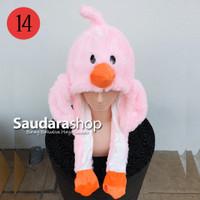 Topi Tiktok Bergerak + Led / Topi Tiktok Lampu / Topi Bebek Pink led