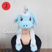 Topi Tiktok Bergerak + Led / Topi Tiktok Lampu / Topi Unicorn Biru