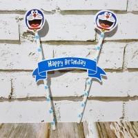Topper Cake Happy Birthday Doraemon/ Cake Topper Doraemon