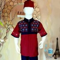Terbaru Set Baju Koko anak Dannis Cigaret 2-12Thn Peci