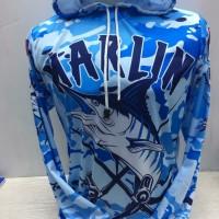 baju jersey mancing mania bertopi Marlin biru-kaos mancing marlin