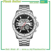 66D Weide Jam Tangan Digital Analog Premium Stainless Steel Pria - WH8
