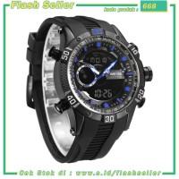 668 Weide Jam Tangan Digital Analog Pria Strap Silicone - WH6902 - Bla
