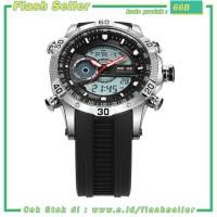 66B Weide Jam Tangan Digital Analog Pria Strap Silicone - WH6902 - Bla