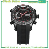 667 Weide Jam Tangan Digital Analog Pria Strap Silicone - WH6902 - Bla