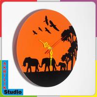 Jam Dinding Unik Akrilik 3D Elephant 01 Series - Biru Muda