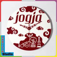 Jam Dinding Unik Akrilik 3D Jogja Istimewa 02 ICONIC Series - Merah