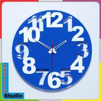 Jam Dinding Unik Akrilik 3D Your Style 05 Series - Biru Muda