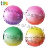 Balon Foil Bulat 4D ORBZ 16inch TANPA KERUT BOLA Ombre Gradasi 2 Warna