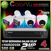 PAKET CCTV HIKVISION COLORVU 2MP 4 CHANNEL HDD 500GB