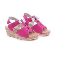 TDLR WOOD WEDGES PINK GIRL Sandals Sendal Kasual Anak Perempuan T 7007